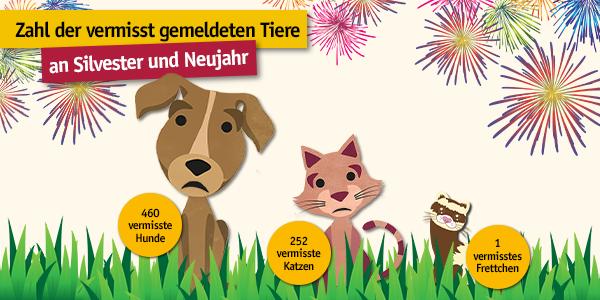 Zahlen der an Silvester vermissten Tiere