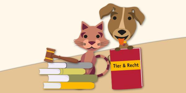 Grafik: Hund und Katze mit Büchern - Tier & Recht