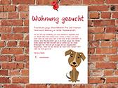 Plakat: Wohnungssuche mit Hund.