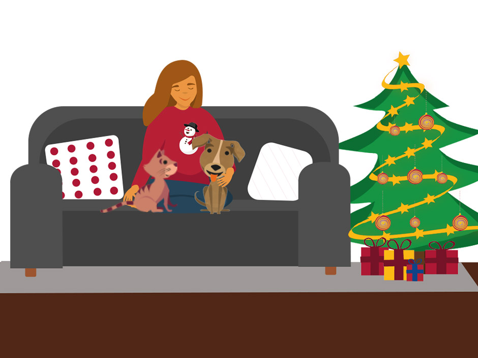 Grafik mit Hund und Katze